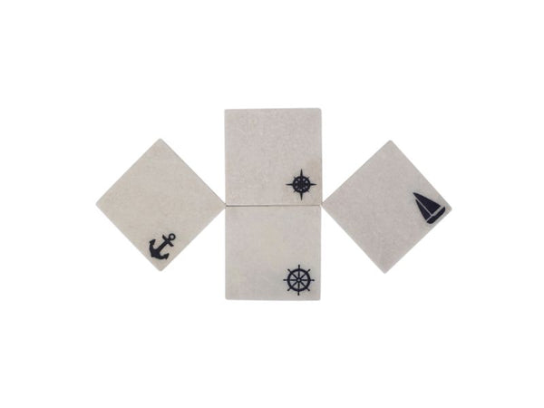 Nautical Marble Coasters, Set of 4 - Artisanal Creations
