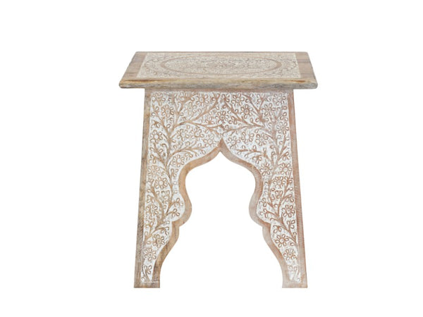 Apsara Hand Carved End Table - Artisanal Creations