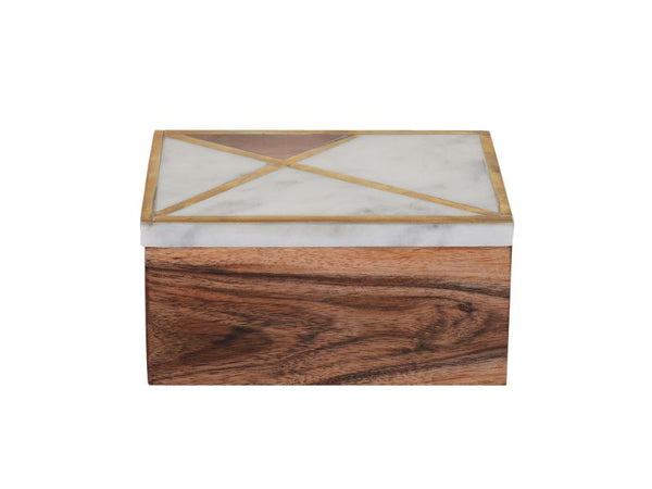 Marble and Wood Decorative Box - Artisanal Creations