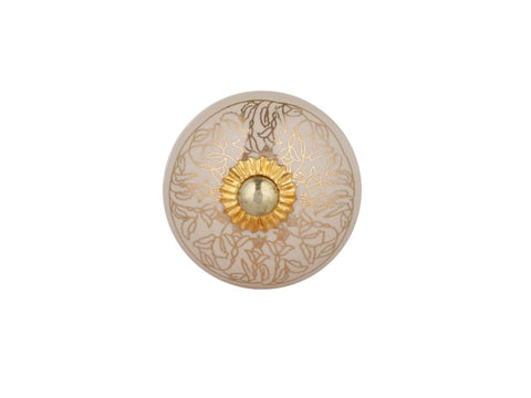 Beige Ceramic Knobs with Gold Highlights, Set of 12 - Artisanal Creations