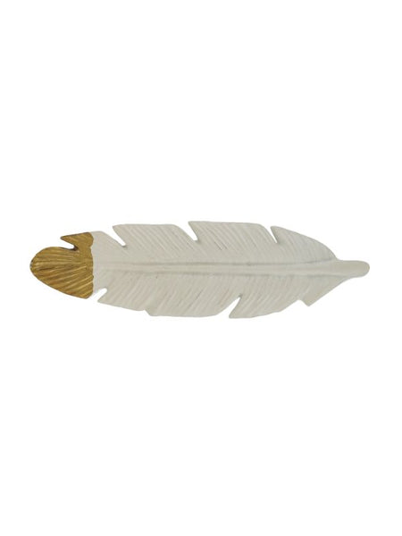 White and Gold Feather Drawer Pulls, Set of 4 - Artisanal Creations