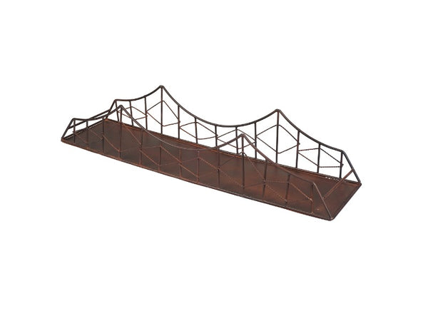 Metal Bridge Shelf with Rust Finish - Artisanal Creations