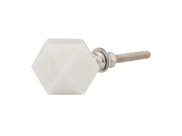 Set of 12 White Faceted Marble Knobs - Artisanal Creations