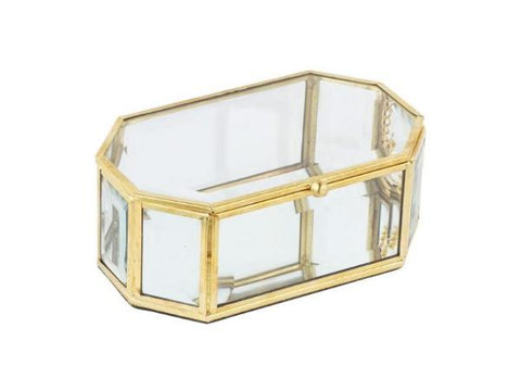 Octagonal Jewelry Box with Brass Trim - Artisanal Creations