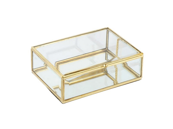 Rectangular Glass Jewelry Box with Brass Trim - Artisanal Creations