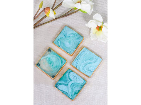 Artisanal Creations Mint Marbled Glass Coasters with Golden Rim – Set of 4 - Artisanal Creations