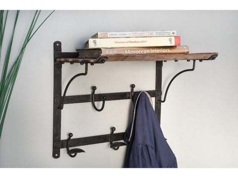 Vintage Train Coat Rack and Shelf - Artisanal Creations