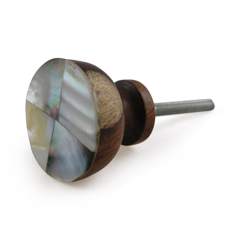 Wooden knob with Mother of Pearl, Set of 4 - Artisanal Creations
