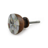 Wood and Mother of Pearl Knob, Set of 4 - Artisanal Creations
