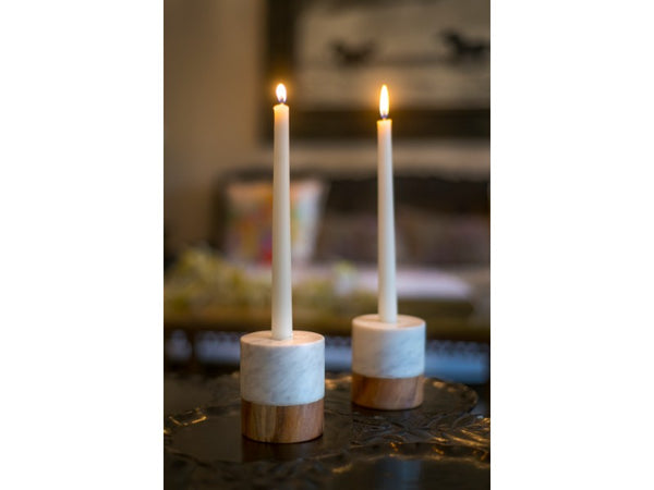 Set of 2 Marble and Wood Candle Holders - Artisanal Creations