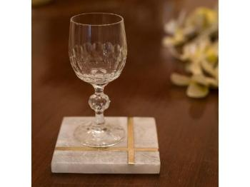Stone and Brass Coaster, Set of 4 - Artisanal Creations
