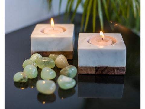 Marble and Wood Tea Light or Pillar Candle Holders - Artisanal Creations