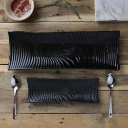 Black Wave Stoneware Serving Plates, Set of 2 - Artisanal Creations