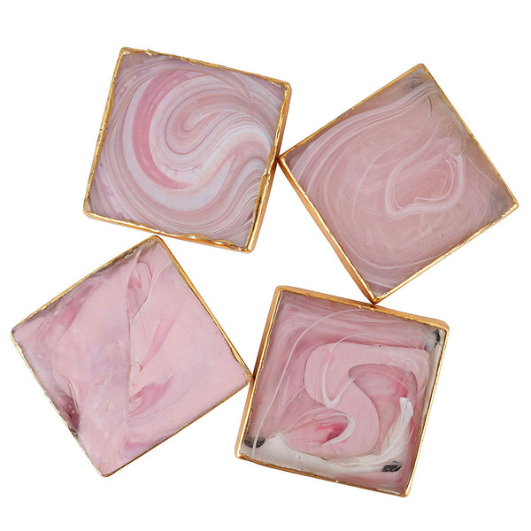 Artisanal Creations Pink Marbled Glass Coasters – Set of 4 - Artisanal Creations