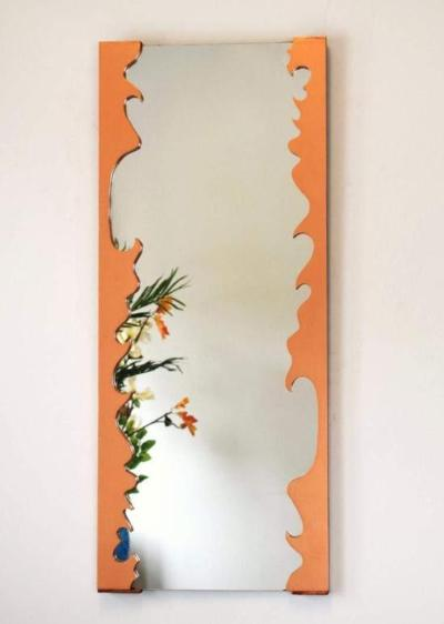 Decorative Rose Gold Mirror with Solid Wood Frame - Artisanal Creations