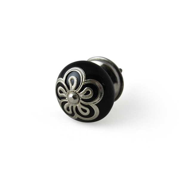 Stamped Metal Black Knob, Set of 4 - Artisanal Creations