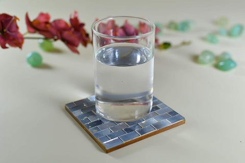 Grey Glass Mosaic Coasters – Set of 6 - Artisanal Creations