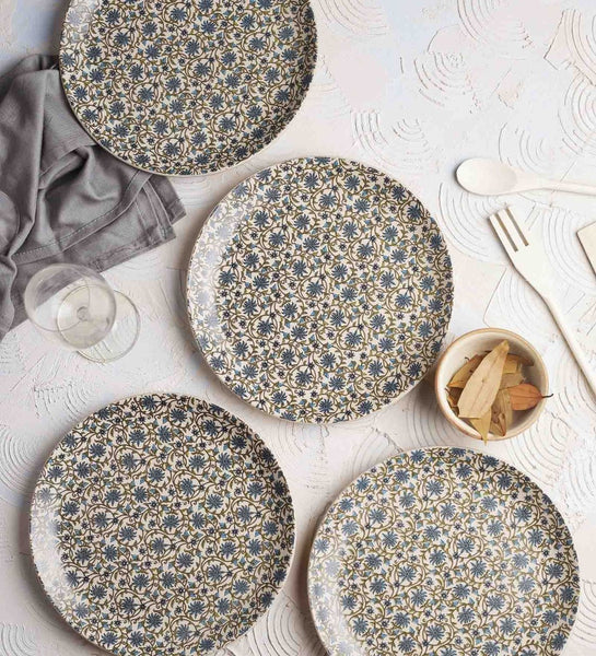 Floral Stoneware Dinner & Side Plates - Artisanal Creations