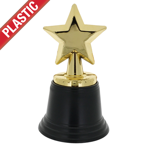 Plastic Gold Star Trophy By School Badges UK