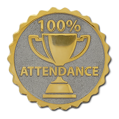 100% Attendance Badge by School Badges UK