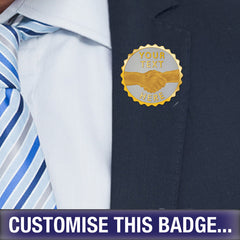 Personalised Scalloped Handshake Badge by School Badges UK