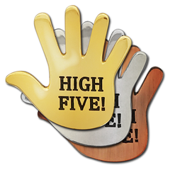 High Five Hand Badge by School Badges UK
