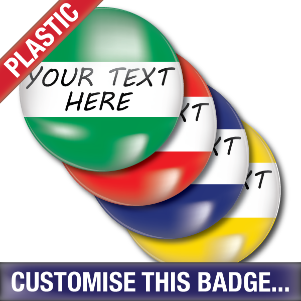 Personalised Plastic Button Badge by School Badges UK
