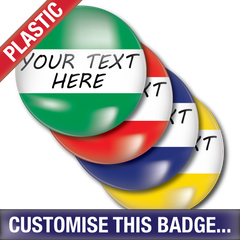 Personalised Plastic Button Badge - School Badges UK
