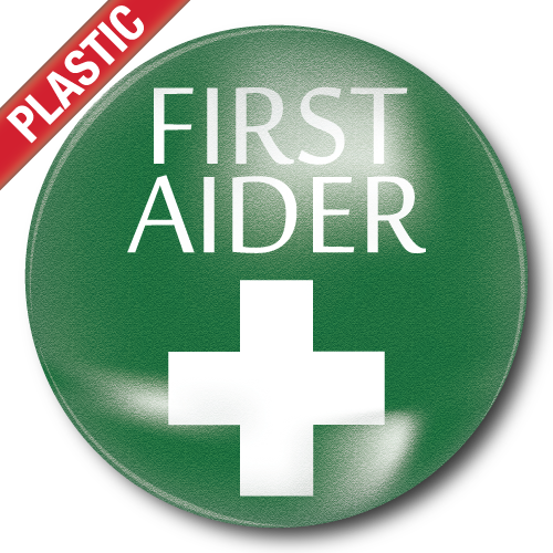 First Aider Plastic Button Badge by School Badges UK