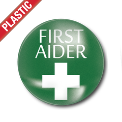 First Aider Small Plastic Button Badge by School Badges UK
