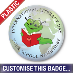 Personalised Plastic 'International Literacy Day' Button Badge