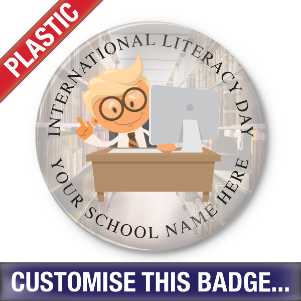 Personalised Plastic 'International Literacy Day - Digital World' Button Badge by School Badges UK