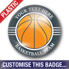 Personalised Plastic 'Basketball Team' Button Badge by School Badges UK