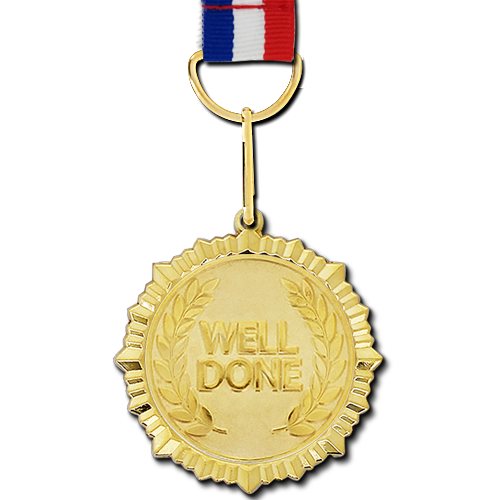 Well Done Gold Medal by School Badges UK | School Badges UK