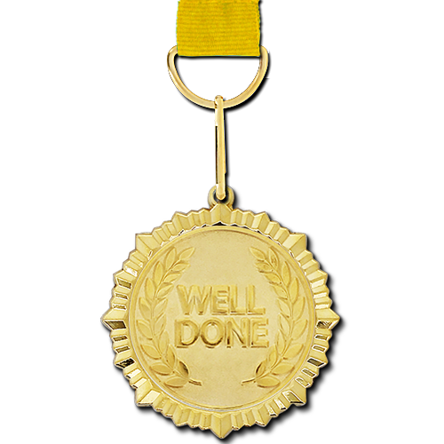 Well Done Gold Medal by School Badges UK