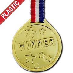 Plastic Gold Winner Medal by School Badges UK