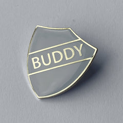Grey Buddy Shield Badge **SALE ITEM - 50% OFF** by School Badges UK