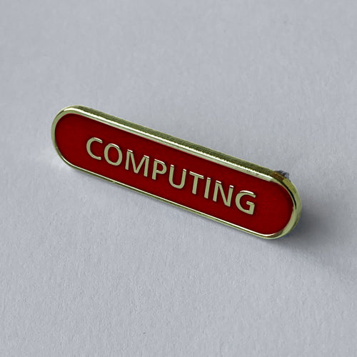 Red Computing Bar Badge **SALE ITEM - 50% OFF** by School Badges UK