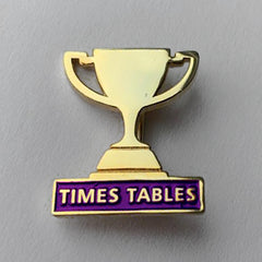 Purple Times Table Trophy Badge **SALE ITEM - 50% OFF** by School Badges UK