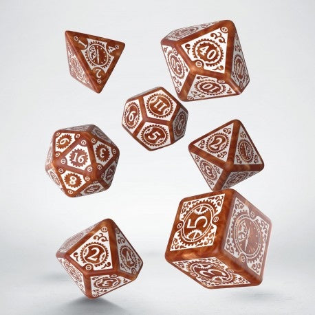 Dice Set: Caramel and White - Steampunk Clockwork