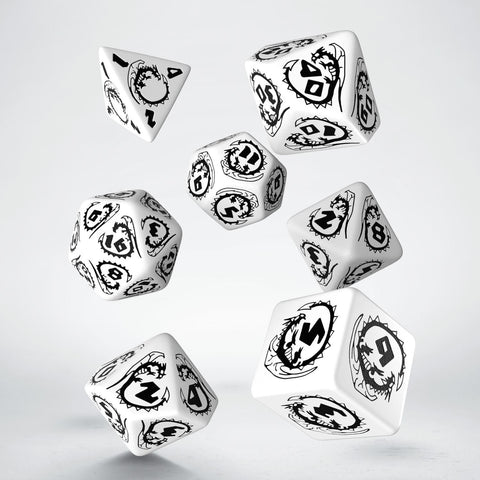 Dice Set: White and Black - Dragon