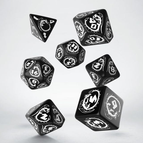 Dice Set: Black and White - Dragon