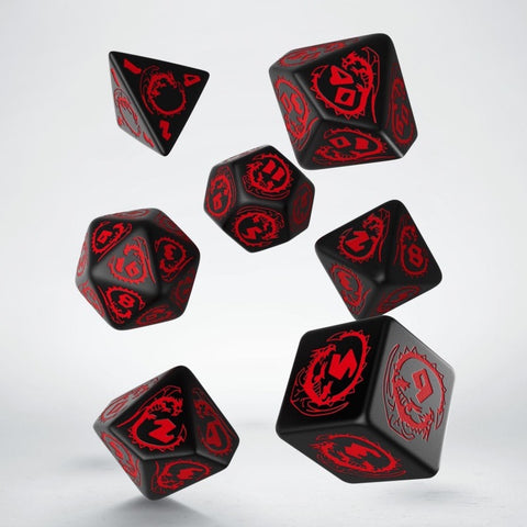 Dice Set: Black and Red - Dragon
