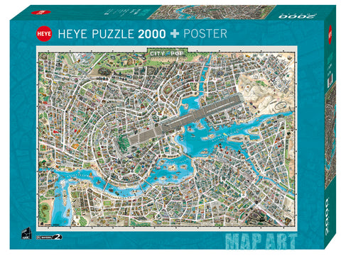 Jigsaw Puzzle: HEYE - Map Art City of Pop (2000 Pieces)