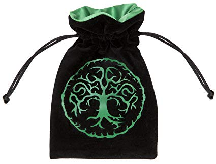 Dice Bag: Q Workshop - Forest Velour, Black/Green