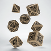 Dice Set: Beige & Black - Celtic 3D Revised