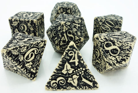 Dice Set: Beige and Black - Forest 3D