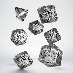Dice Set: Transparent and Black - Elvish