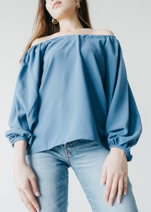 Elena Off Shoulder Top in Blue