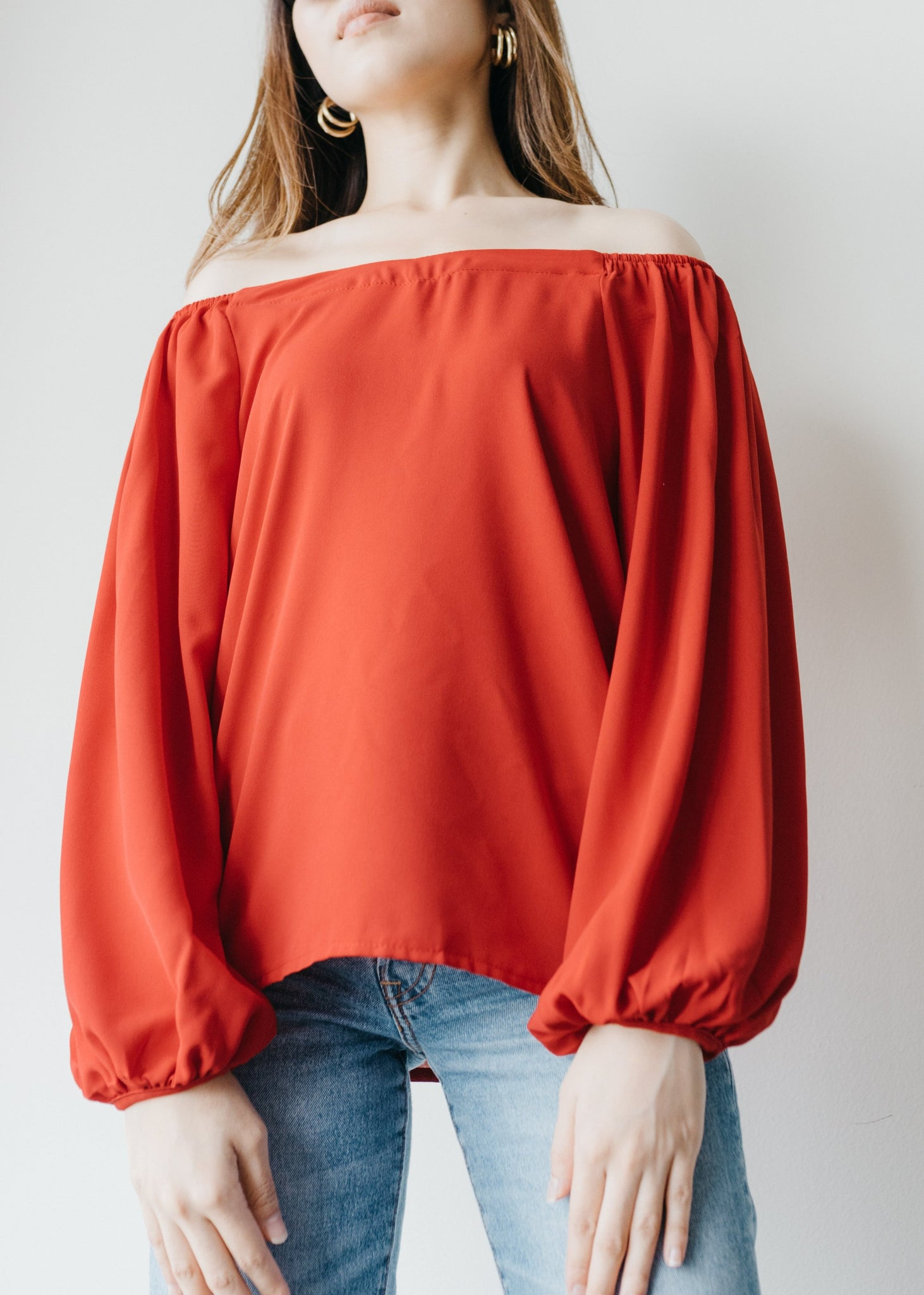 Elena Off Shoulder Top in Chilli Red